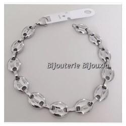 Bracelet Homme Maille Grain De Café 22cm En Acier Inoxydable 316L Bijoux Neuf
