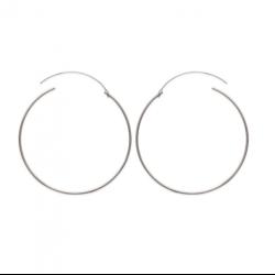 Boucles D'oreilles Créoles Rondes 7cm Argent Massif 925/1000 Bijoux Femme