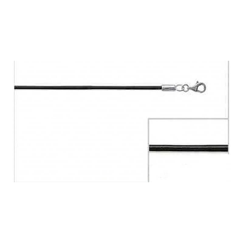 Collier cordon noir en cuir & Argent Massif 925/000  50 CM - Bijoux Neuf