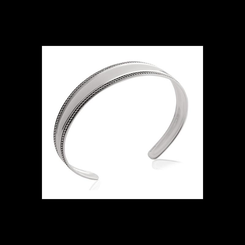 Bracelet Jonc Rigide Ouvert  Argent Massif vieilli 925/1000 Bijoux Femme