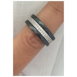 Bague Céramique T50 - Triple anneaux OZ Zirconium & Argent 925/1000 Bijoux femme