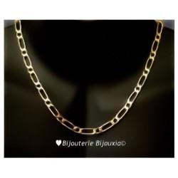 Chaîne Maille Figaro 5MM x 50CM Plaqué or 18 CARATS 750/1000 Bijoux Homme