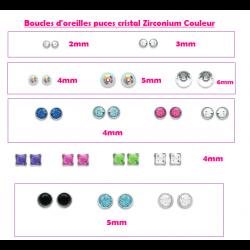 Boucles d'oreilles puces - Cristal Zirconium - Couleur - CHOIX  Argent Massif 92