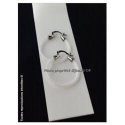 Boucles D'oreilles Créoles Céramique blanche  Bijoux Femme