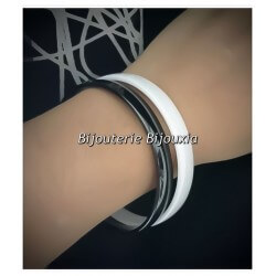 Bracelet Jonc épais 8MM X  6,5CM Lisse Pure Céramique Blanche  Bijoux Femme