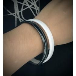 Bracelet Jonc épais 8MM X 6,5CM  Céramique couleur NOIR  Bijoux Femme