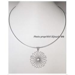 Magnifique Collier Pendentif FLEUR Cristal Zirconium Argent 925 Bijoux Femme