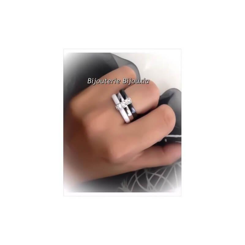 Magnifique Bague Céramique Noir&Blanc T52 Zirconium Argent 925 Bijoux Femme