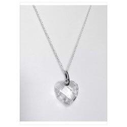 Magnifique Collier cœur de cristal Zirconium  Argent massif 925/1000 Rhodié
