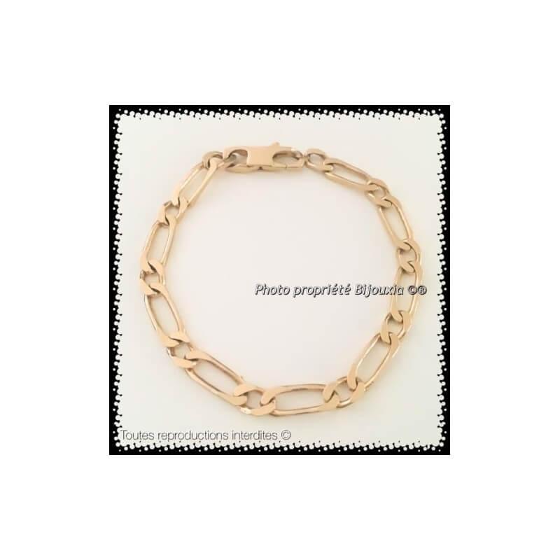 regarder 2879b 4ae01 Bracelet Maille Figaro 6MM x 21CM Plaqué or 18 Carats Bijoux Homme