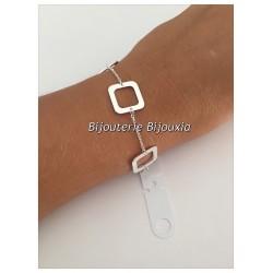 Bracelet Souple Modules Carrés Argent Massif 925/1000 Poinçonné Bijoux Femme