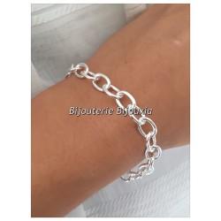 Bracelet Charme Maillons Entrelacés Argent Massif 925/1000 Bijoux Femme Poinçoné