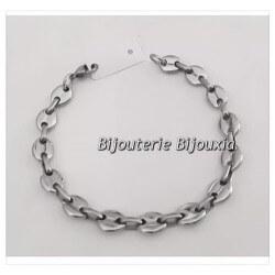 Bracelet Homme Maille Grain De Café 22cm  Acier Inoxydable 316L Bijoux Neuf