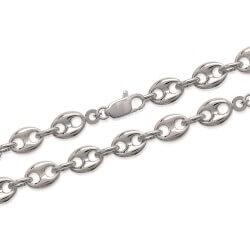 Bracelet Grain De Café 19CM X 8 MM - Argent Massif 925/000 Rhodié - Bijoux Femme