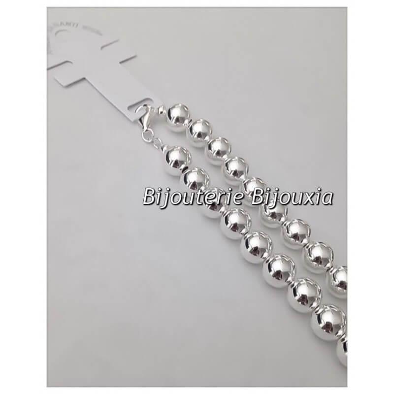 Femme Argent Large Bracelet Bijoux X Massif Boules 1cm 21cm 9251000 JFK1Tcl