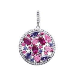 Pendentif ROND CRISTAL ROSE Cubics Zirconium Argent 925/1000 Bijoux Femme