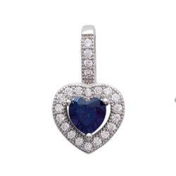 Pendentif Cœur Microserti Saphir Cz Argent Massif 925/1000 Rhodié Bijoux Femme
