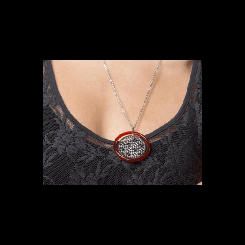 Pendentif Cercle ajouré Acier Inoxydable et Agate Rouge véritable Bijoux Femme