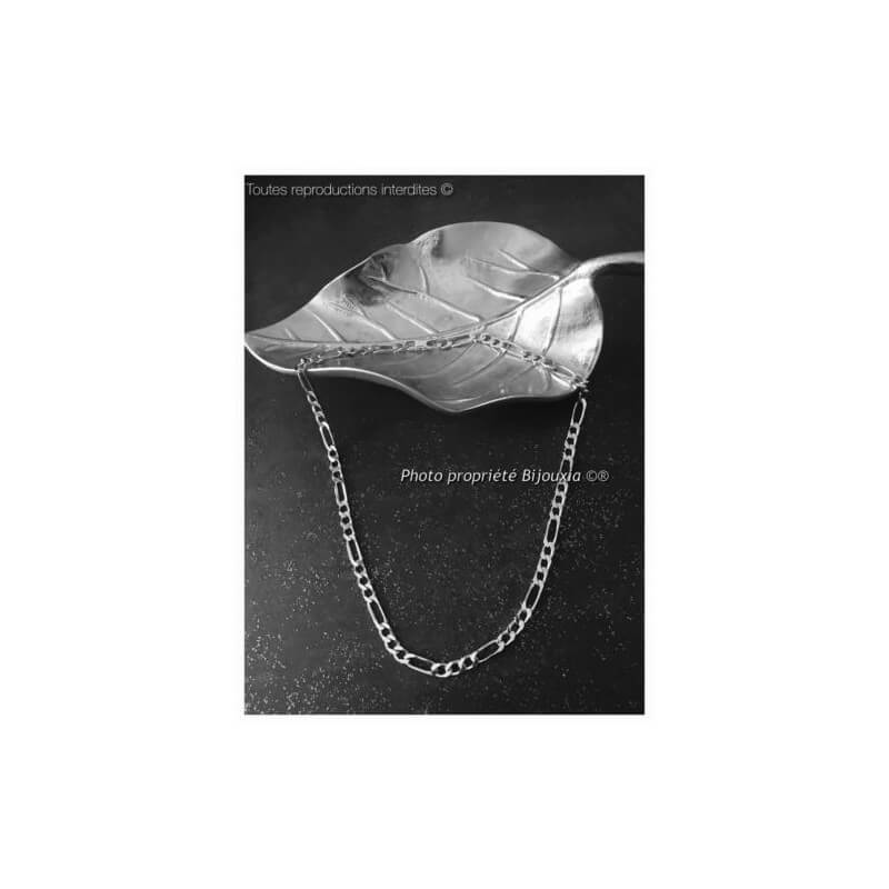 Chaîne Maille Figaro 50 cm  Argent Massif 925/1000 Bijoux Homme