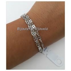 Bracelet Triple Chaînettes petites mailles Argent Massif 925/1000  Bijoux Femme