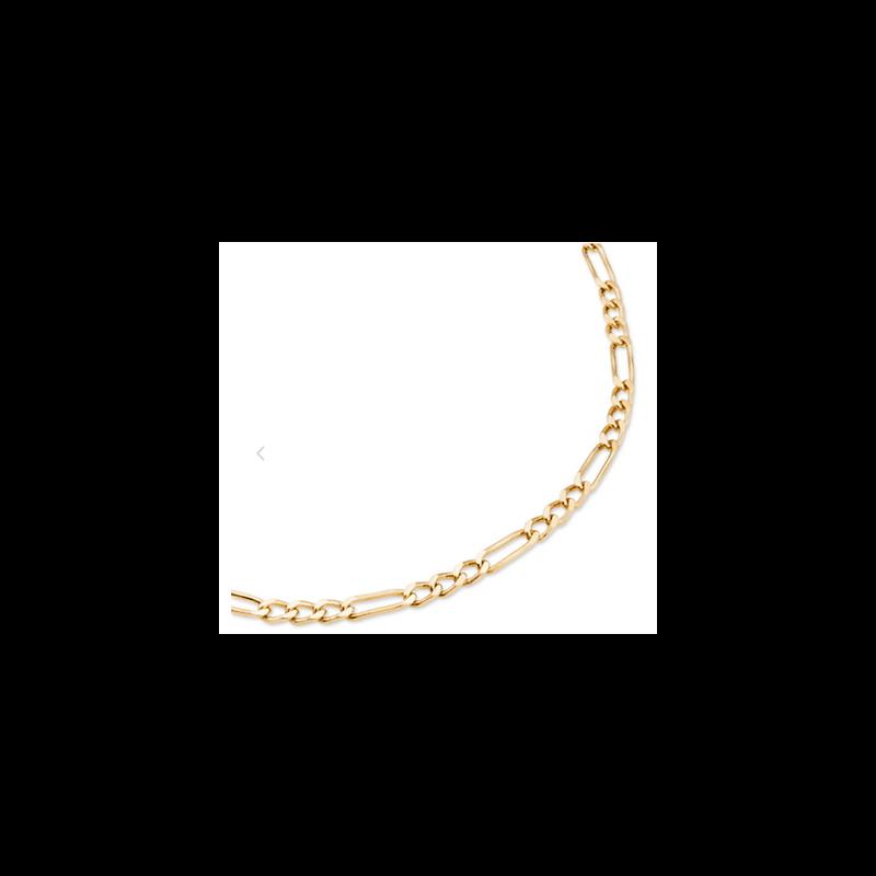 Chaîne Maille Figaro 55 cm x 3,50 mm Plaqué or 18 Carats 750/1000 Bijoux Homme