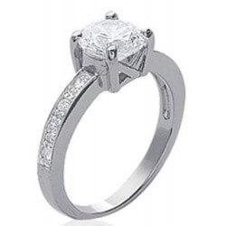 Bague Solitaire-Cristal Zirconium- Argent Massif 925 Rhodié- T60 -bijoux Femme-