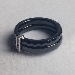 Bague Céramique Noire - Cristaux De Zirconium Et Argent Massif - T52 - Bijoux