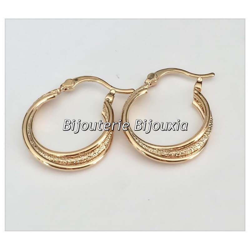 Boucles D'oreilles Créoles  Plaqué Or 18 carats 3 microns Bijoux Femme