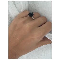 Bague Fleur Rose En Céramique Noire Et Argent Massif  T54 Bijoux Femme