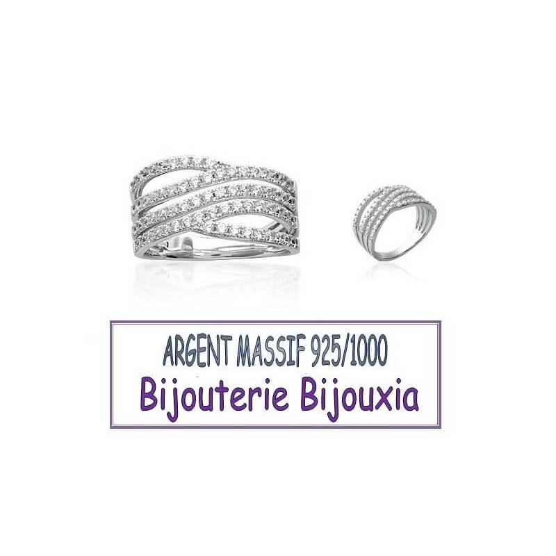 Bague Large Empierrée Microserti ZIRCONIUM  Argent Massif 925/1000 Bijoux CHOIX