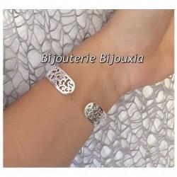 Bracelet Jonc Rigide Ajouré Argent Massif 925/1000 Poinçon Bijoux Femme
