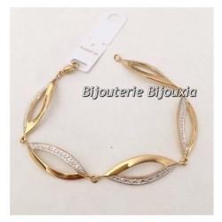Magnifique Bracelet Cristaux Or Plaqué Or 18 Carats Garanti 10 ans Bijoux Femme