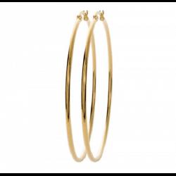 Grandes Créoles Lisses 7cm Acier Inoxydable 316L PVD doré  Bijoux Femme