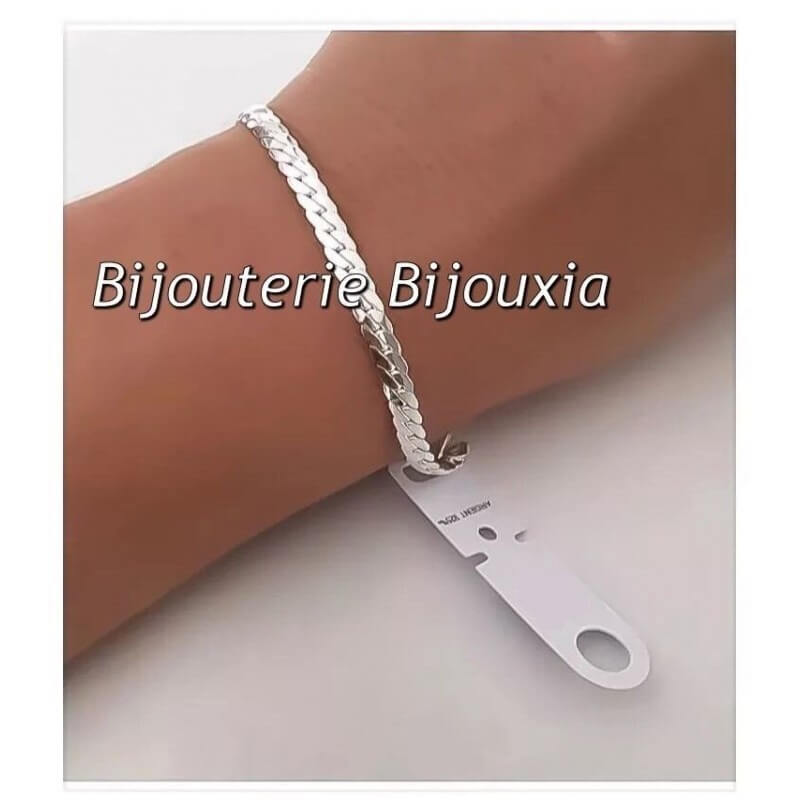 Anglaise Bracelet Massif Maille Plate En Argent Femme Bijoux 9251000 nOmN8wv0