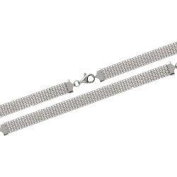 Bracelet Souple Large Maille Entrelacée Argent Massif 925/1000 Bijoux Femme
