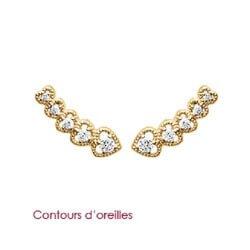 Boucle D'oreilles 5 Coeurs Zirconium Plaqué Or 18 Carats Bijoux Femme