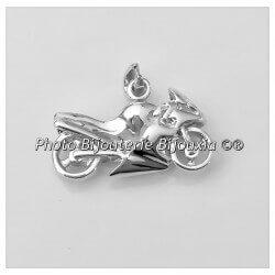 Pendentif Grande MOTO Argent Massif 925/1000 Bijoux Neuf Avec Étiquette