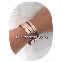 Bracelet Jonc Manchette  MODERNE Acier & PVD ROSE  Ajustable  Bijoux Femme
