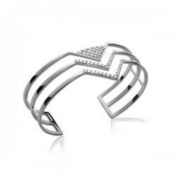 Bracelet Jonc Ajustable ZIRCONIUM Argent Massif 925/1000 Poinçonné Bijoux Femme