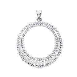 Pendentif Cercle large - Pavé Zirconium Argent Massif 925/1000 Bijoux femme