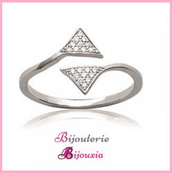 Bague Design Triangle Cubics ZIRCONIUM  Argent Massif 925/1000 Bijoux Femme