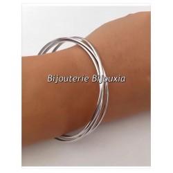 Bracelets Triple JONCS Entrelacés Argent Massif 925/1000  Rhodié Bijoux Femme
