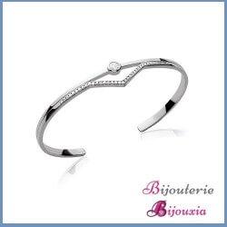 Bracelet Jonc ouvert Triangle Solitaire ZIRCONIUM Argent 925/1000 Rhodié Bijoux