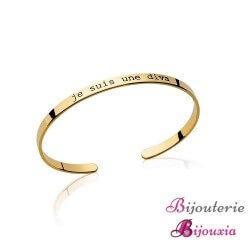 """Bracelet Jonc Ouvert Message """"Je suis une DIVA """" Plaqué or 18 Carats Bijoux"""