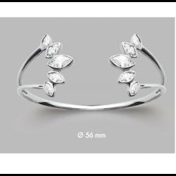 Bracelet Jonc Ouvert Cristal Goutte ZIRCONIUM Argent 925/000 Rhodié Bijoux Femme