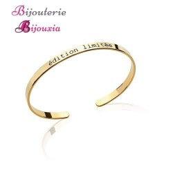 """Bracelet Jonc Ouvert Message """"Edition Limitée"""" Plaqué or 18 Carats Bijoux"""