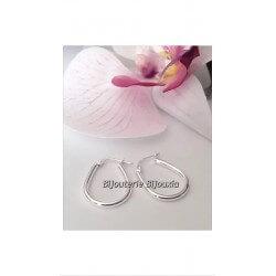 Boucles D'oreilles Créoles Ovales En Argent Massif 925/000 Bijoux Femme