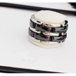 Bague Céramique Noire Double Rang- Et Acier Inoxydable- T61/62 - Bijoux Femme