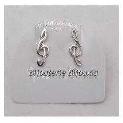 Boucle D'oreilles Clef De Sol  Argent Massif 925/1000 Bijoux Femme