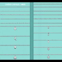 Chaînes Cheville en Argent Massif 925/000 Large CHOIX de modèles et de Mailles